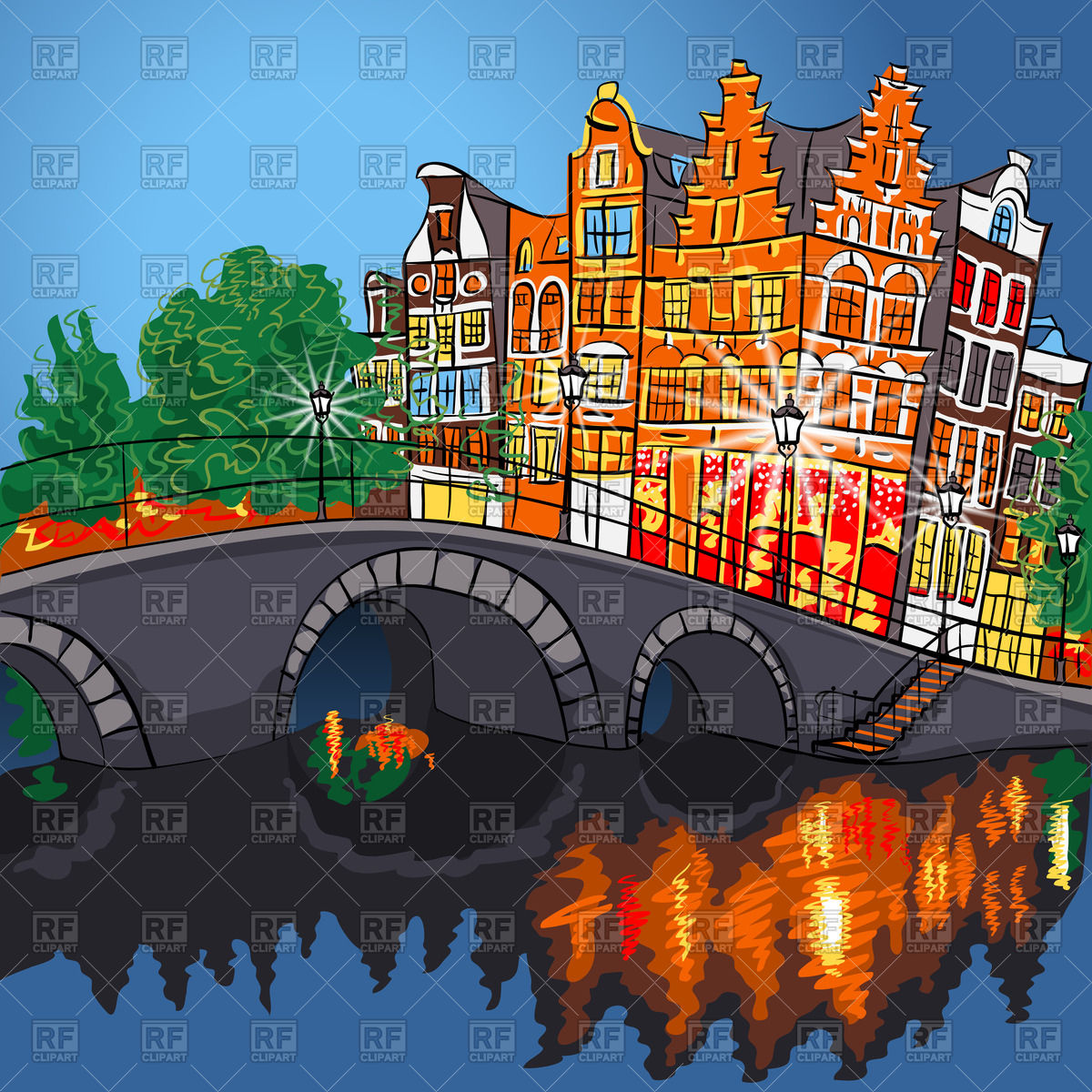 View of night city of Amsterdam canal, bridge and houses, Holland.