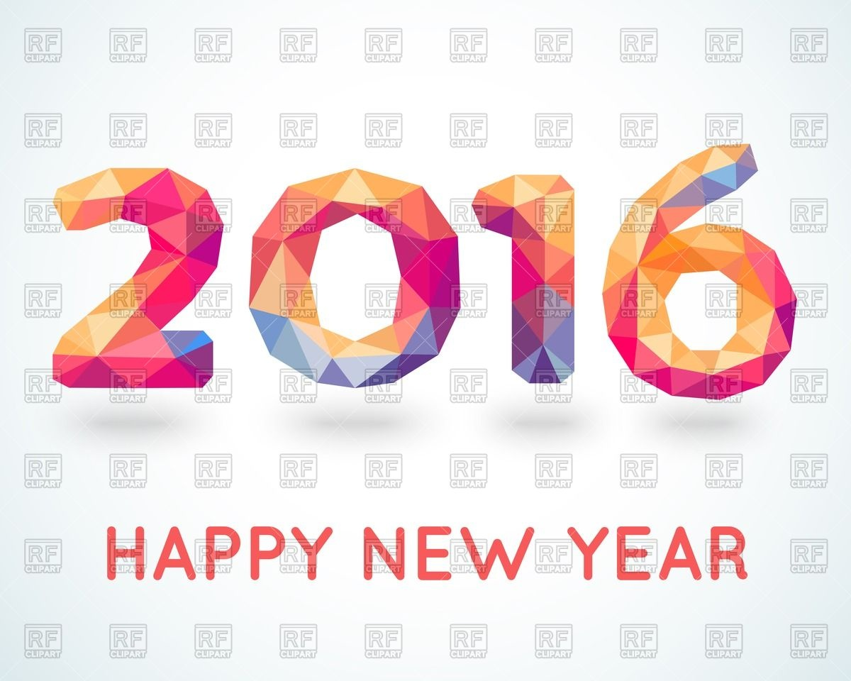 New Year 2016 greeting card made in polygonal style Vector Image.