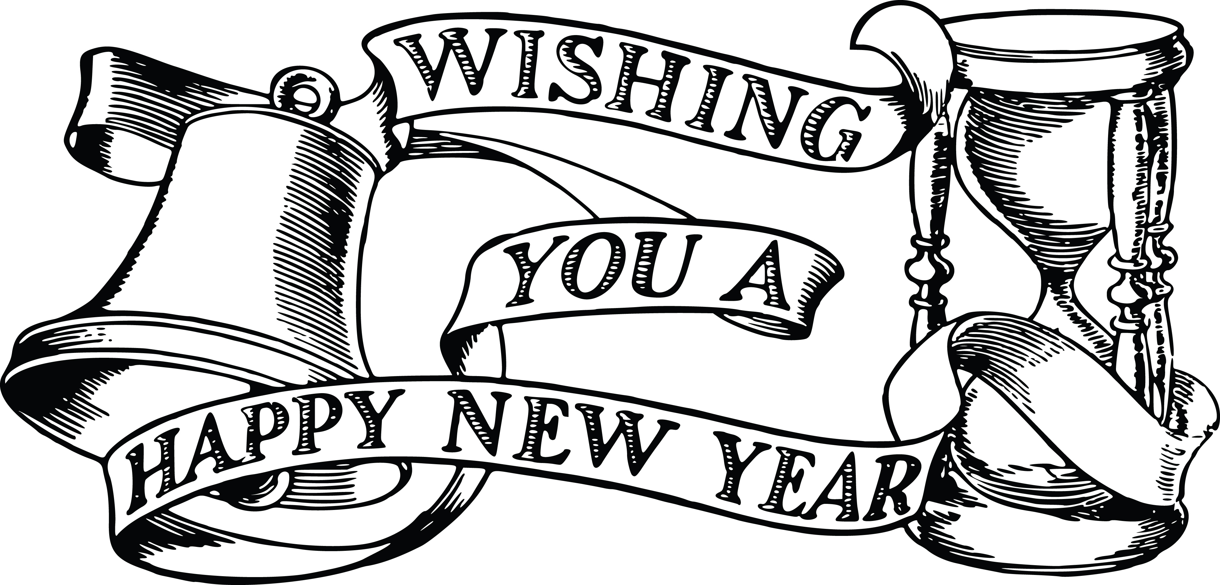 Free Clipart Of A bell hourglass and happy new year banner.