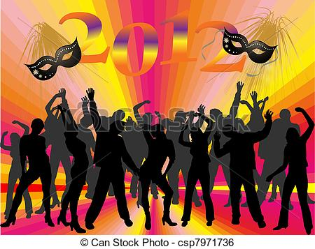 Clip Art Vector of new years eve 2012.
