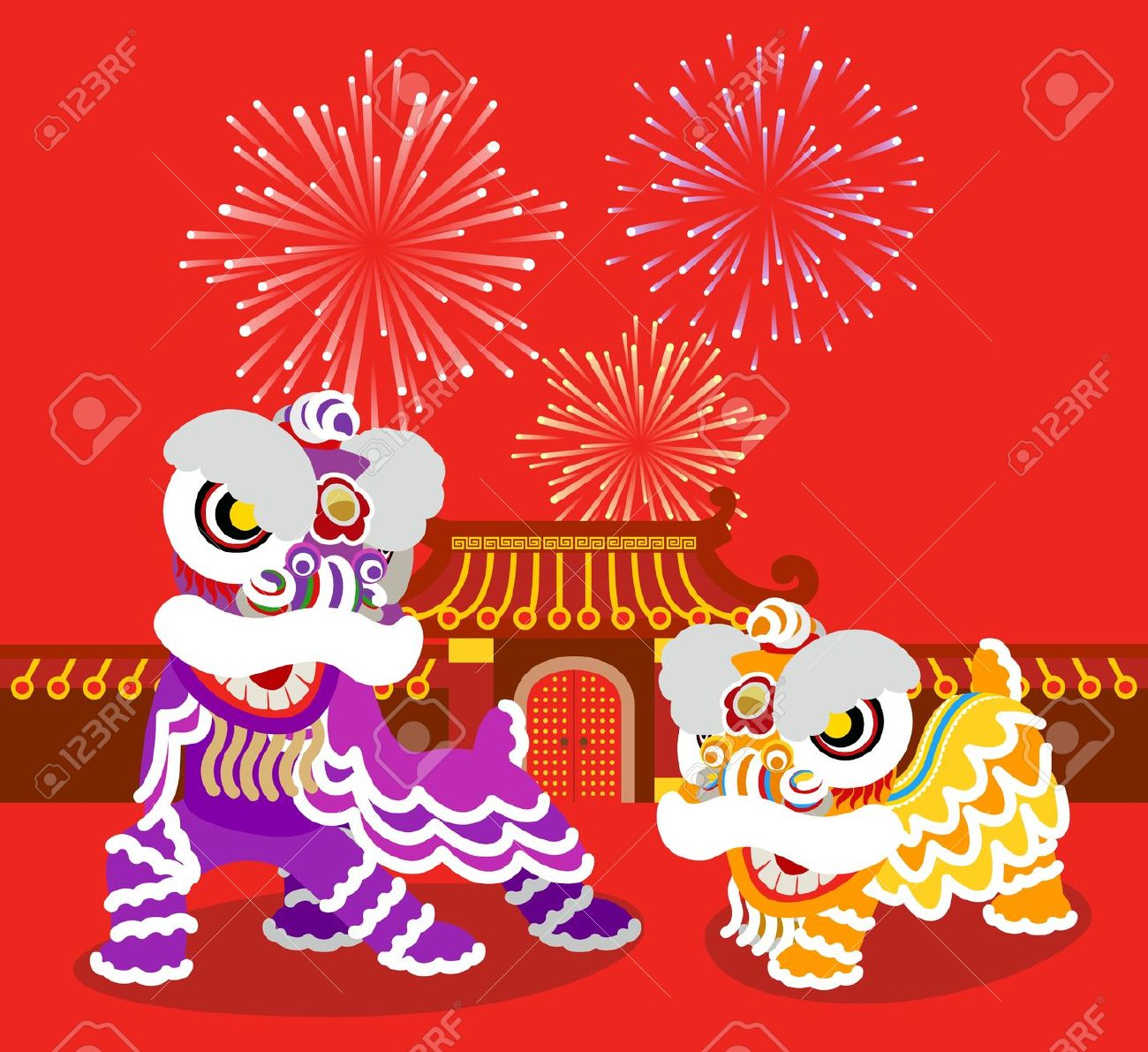 chinese new year dragon new dance clipart