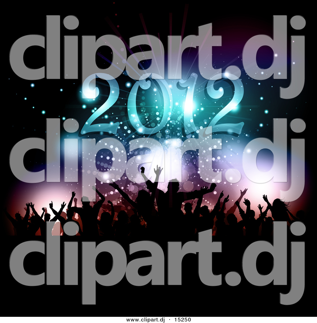 Vector Clipart of a Silhouetted New Year\'s Eve Party Under.