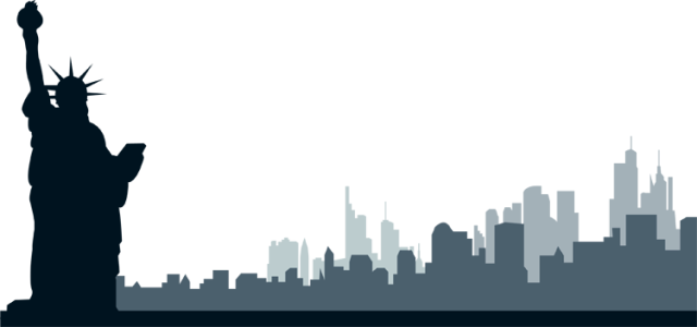 Clip Art Of the New York City Skyline With Statue Of Liberty.