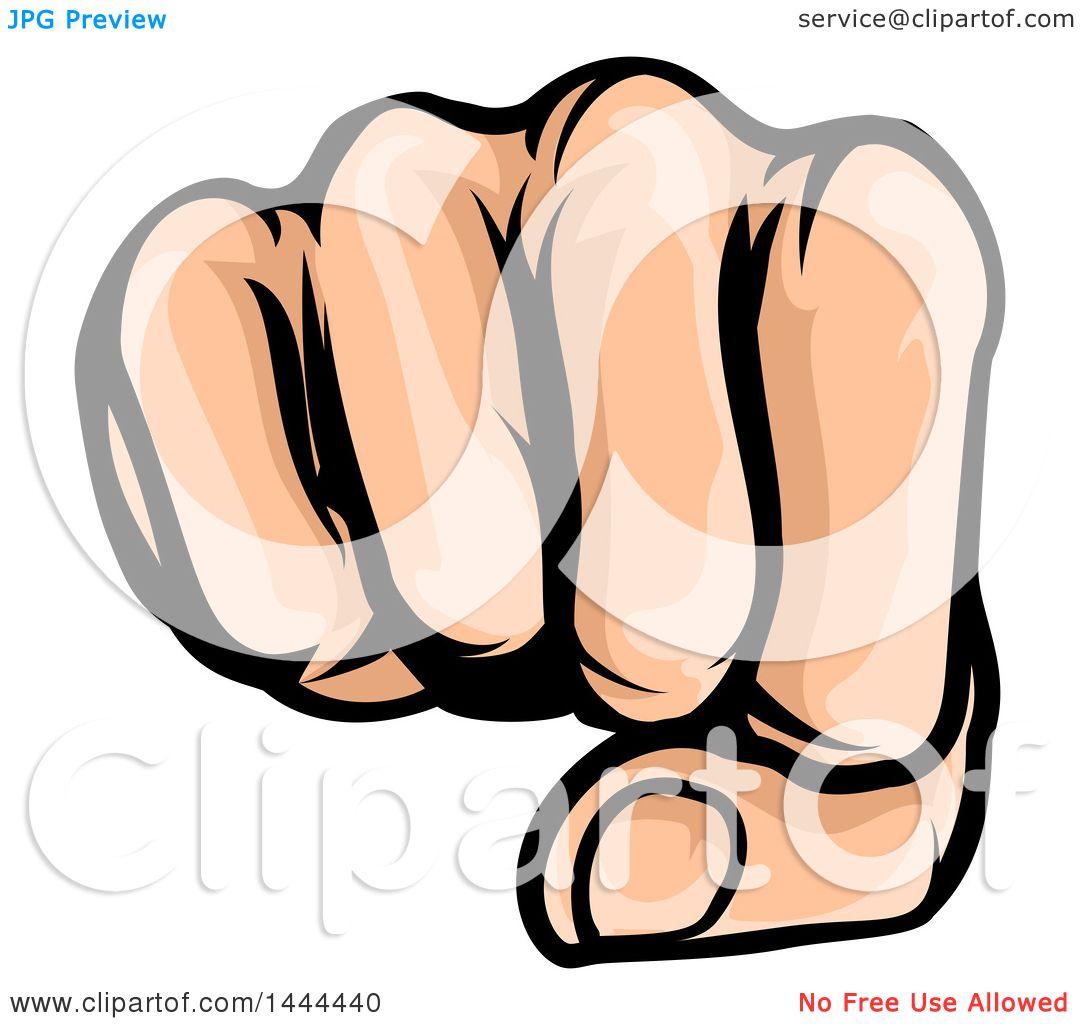 Clipart of a Cartoon Caucasian Fist Punching.