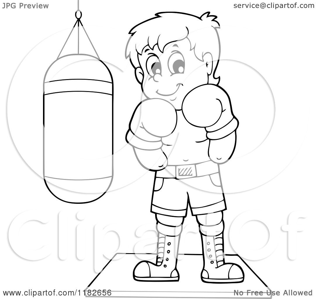 Cartoon of an Outlined Boxer by a Punching Bag.