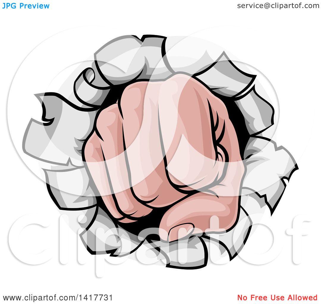 Clipart of a Cartoon Fist Punching a Hole Through a Wall.