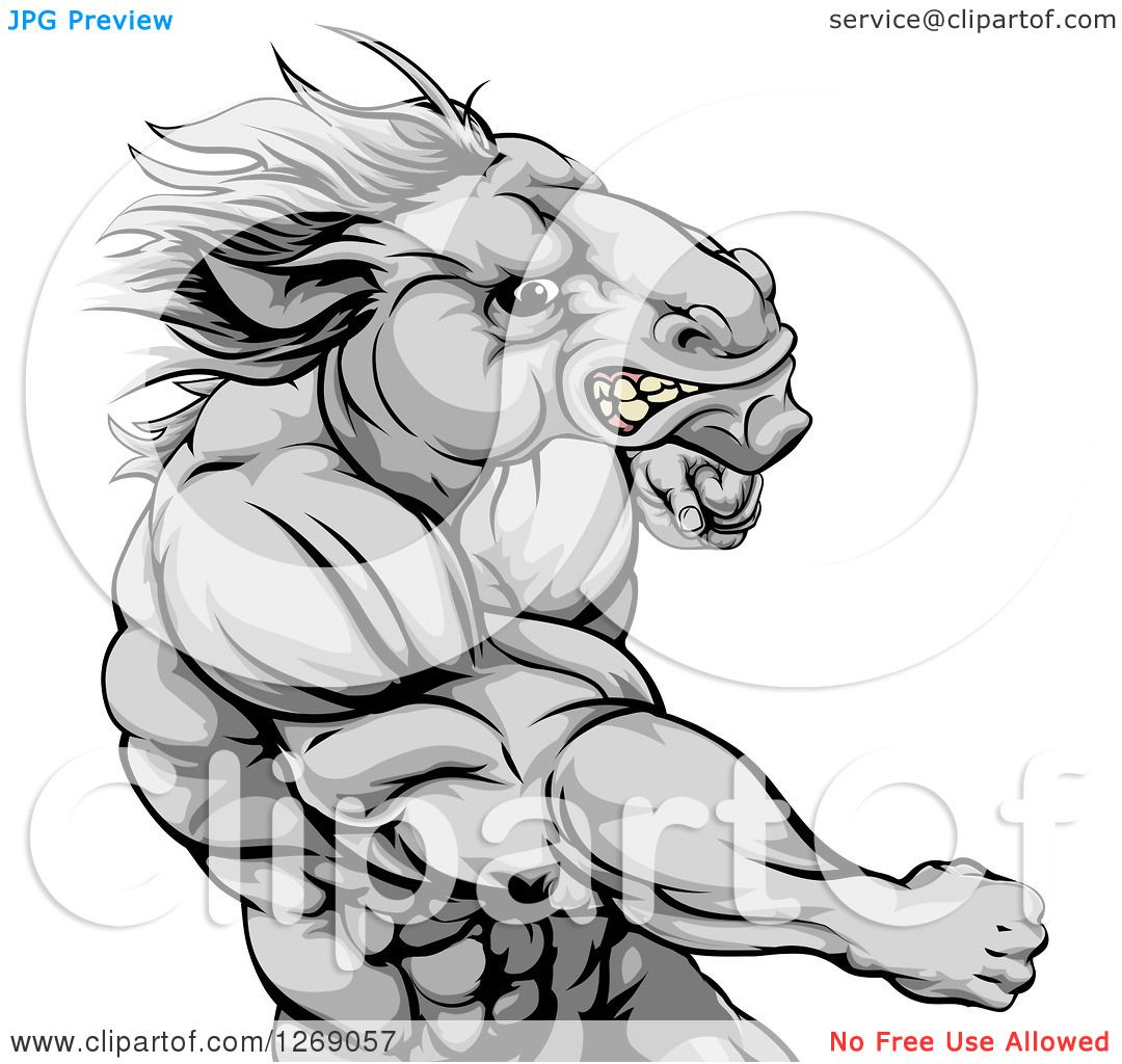 Clipart of a Tough Angry Gray Muscular Horse Man Punching.