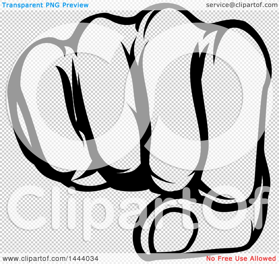 Clipart of a Black and White Cartoon Fist Punching.