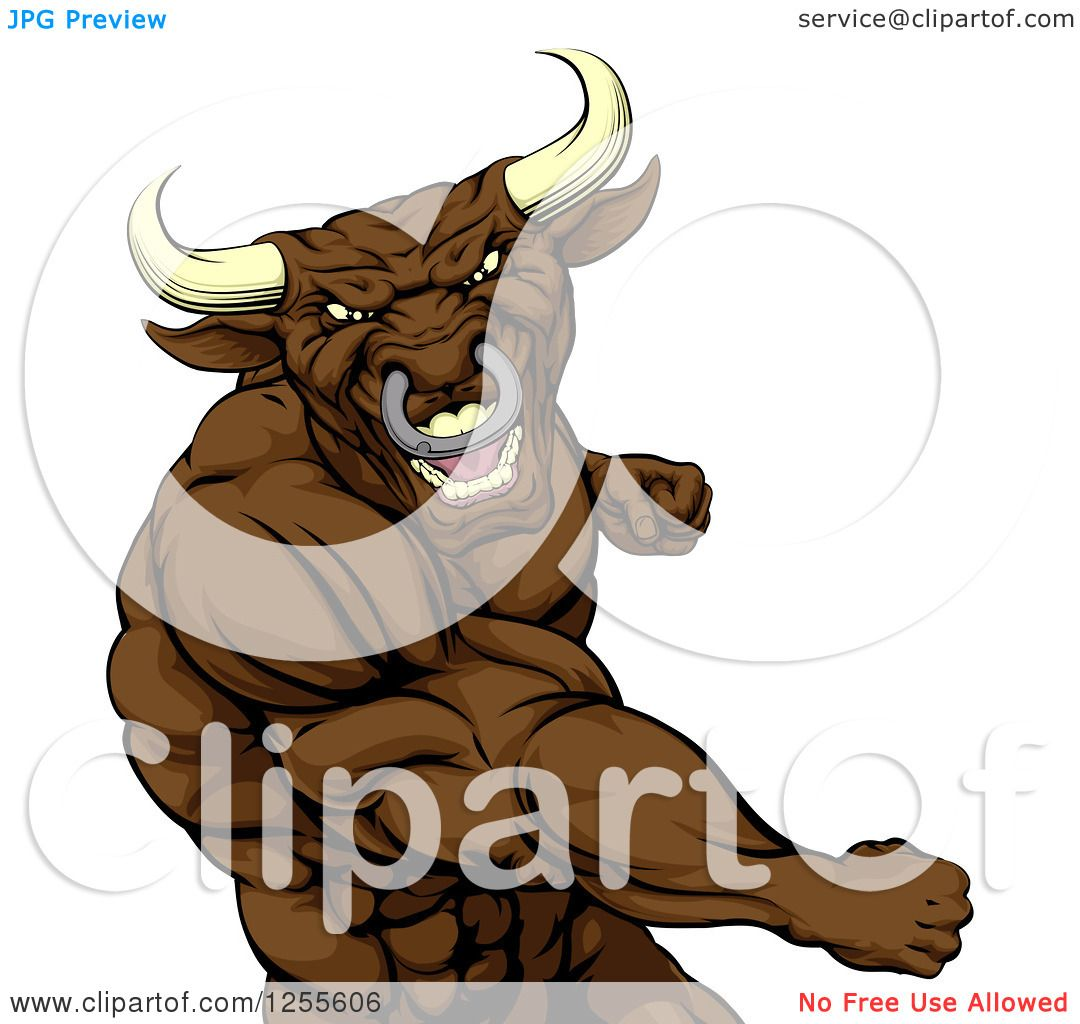 Clipart of a Mad Brown Bull or Minotaur Mascot Punching.