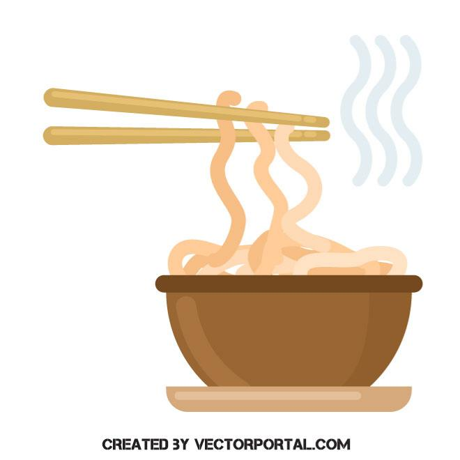 Noodles meal vector clip art.