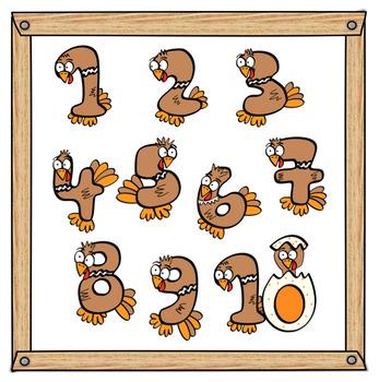 Turkey Numbers Clip Art.
