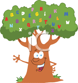 Alphabet tree cartoon clipart image..