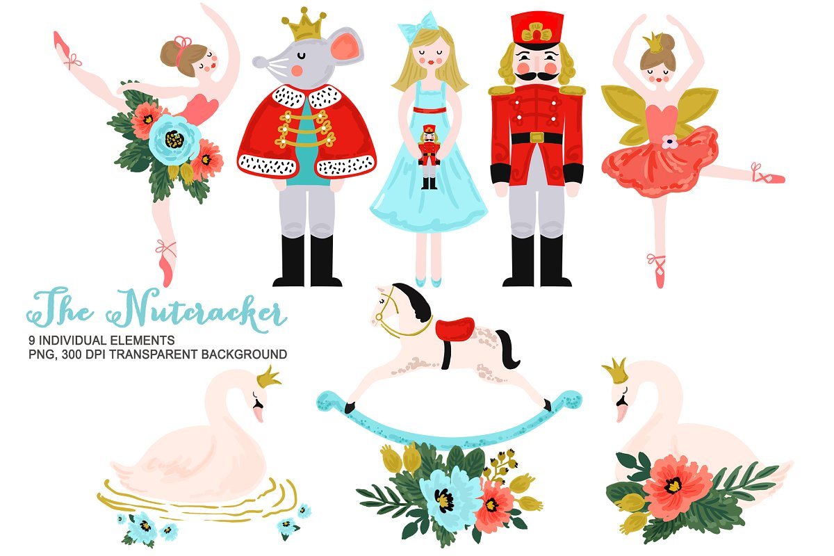 Nutcracker Clipart, Christmas Ballet.