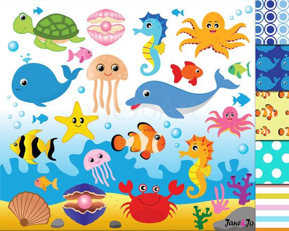 50%OFFSALE Sea Animal Clipart,Sea Animals Clipart,Sea.