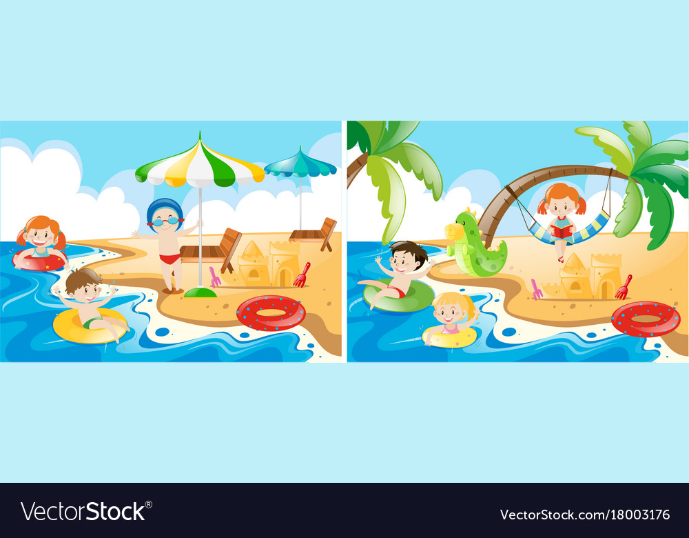 Beach scenes with kids playing.