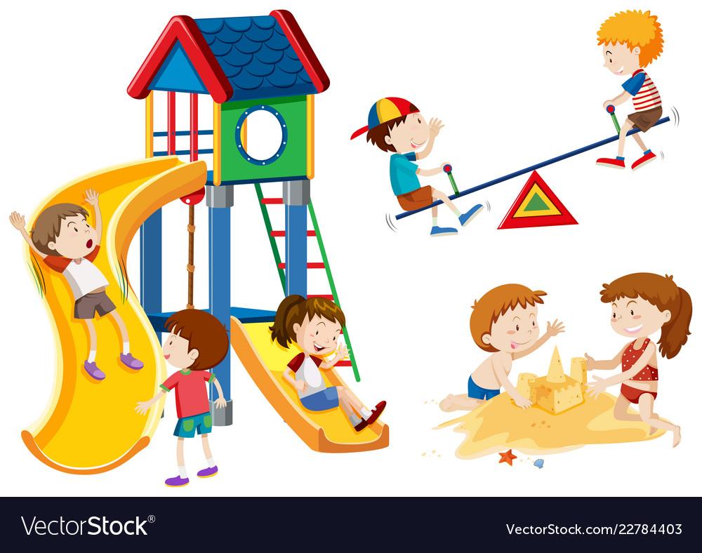 Kids playing at playground.