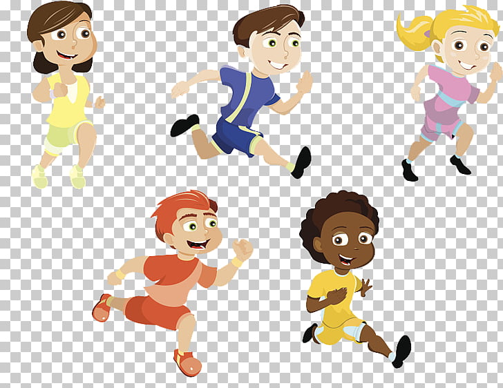 Running Child , We work together to keep fit PNG clipart.