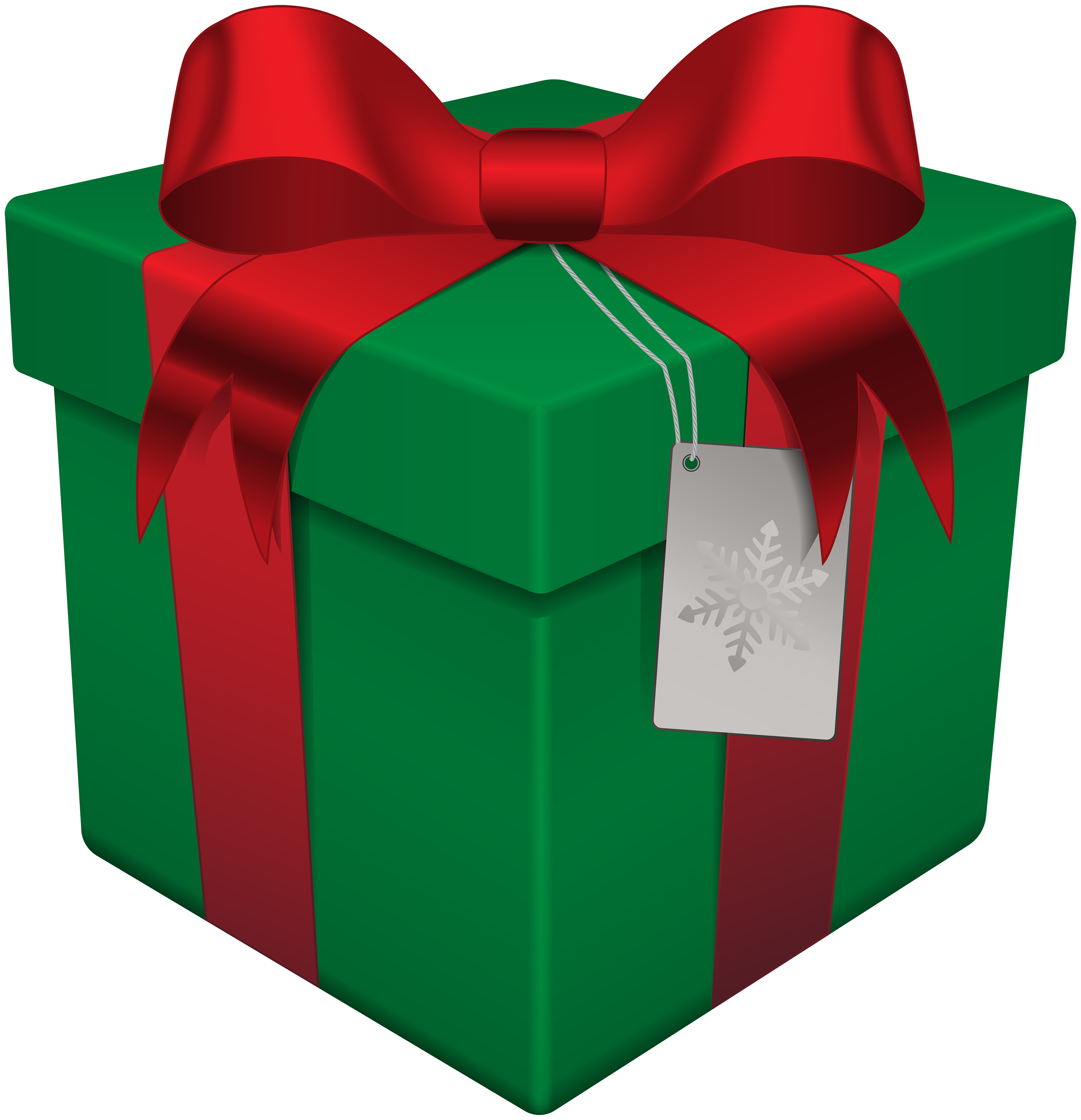 Christmas Gift Box Green Transparent PNG Clip Art.