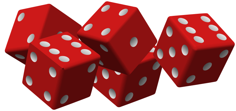 Free Clipart: Five red dice.