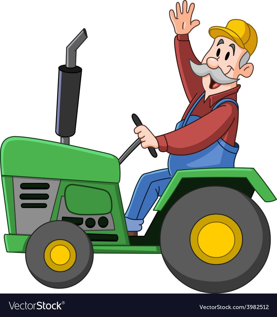 Farmer driving tractor Royalty Free Vector Image.