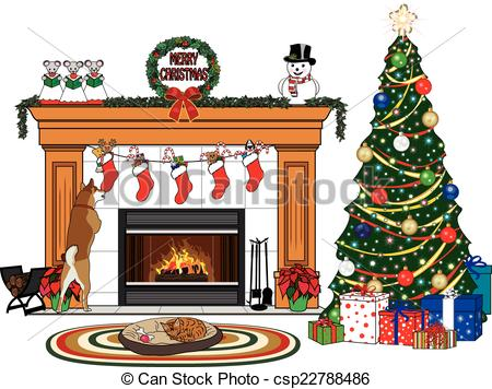 Free Clipart Of Fireplace And Xmas Tree.