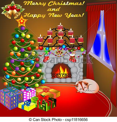 Clipart Vector of of Christmas fireplace with a tree gifts candles.