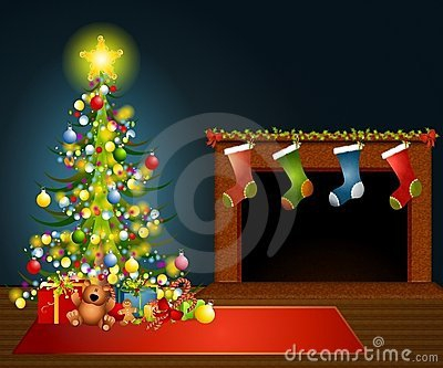 Fireplace With Christmas Tree Clipart#1991219.