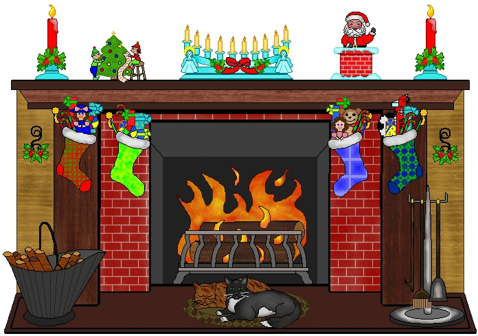 Fireplace With Christmas Tree Clipart#1991211.