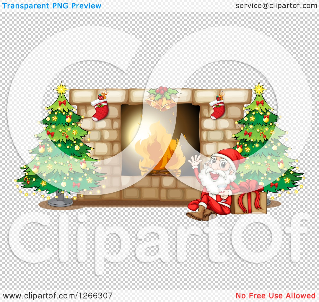 Clipart of a Fireplace with Stockings Christmas Trees and Santa.