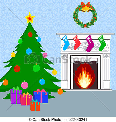 Drawing of Christmas card with Christmas tree, fireplace and gifts.