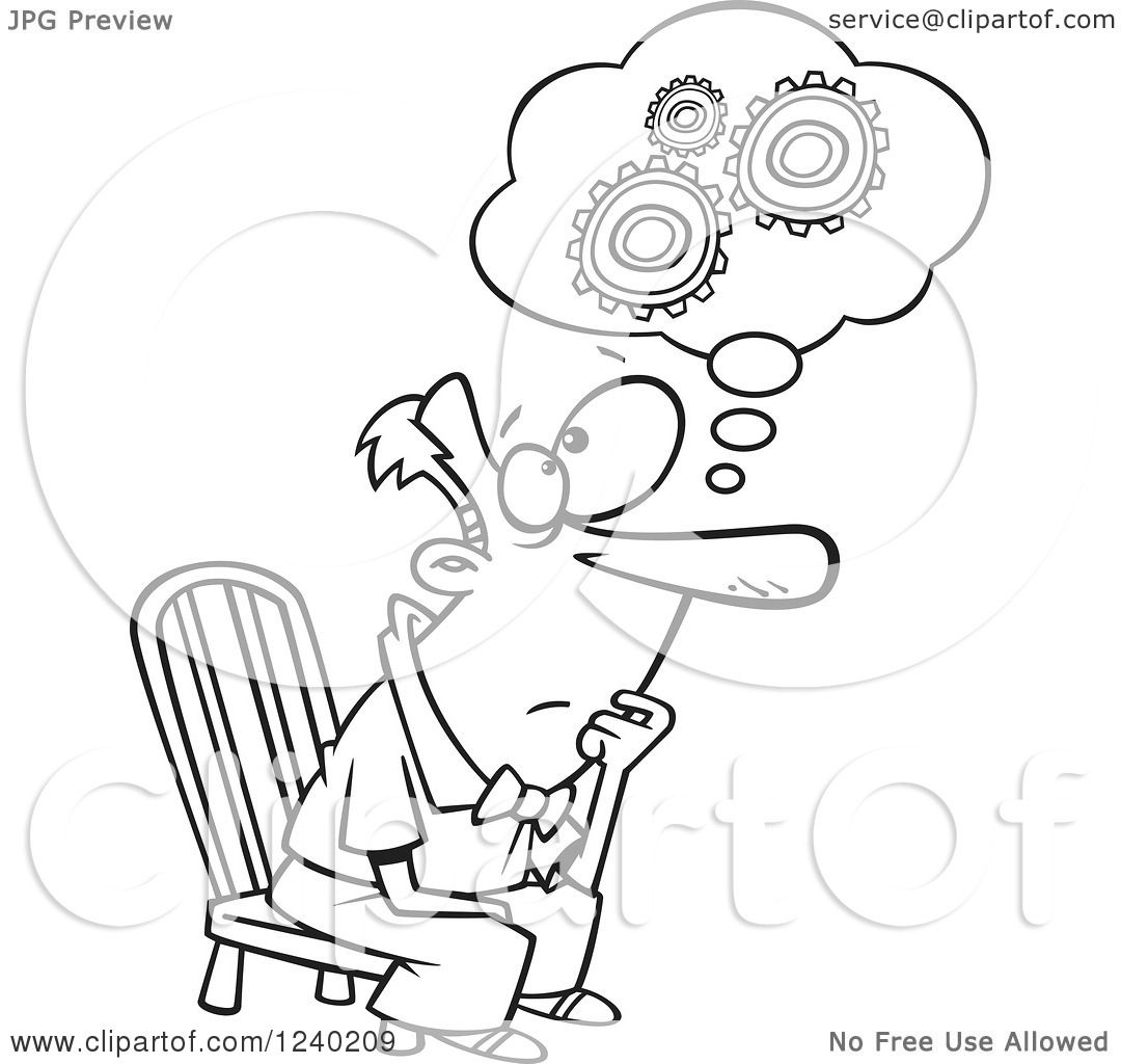 Clipart of a Black and White Gear Head Man Sitting and Thinking.
