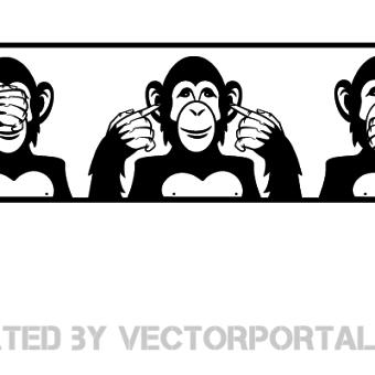 Monkey Face Free Vector.