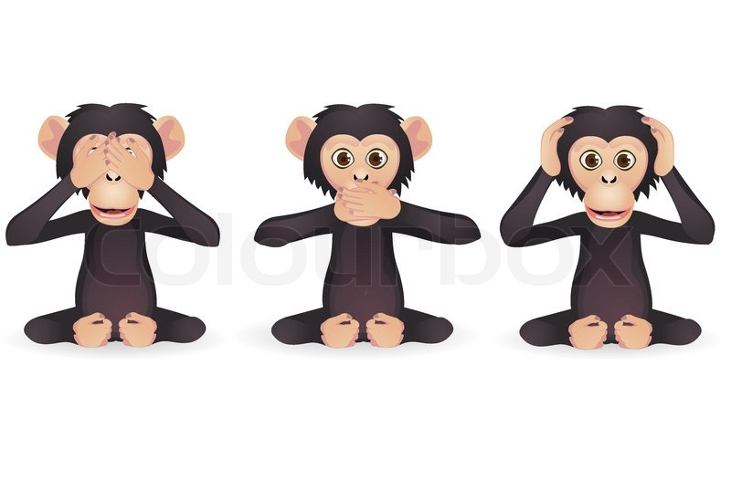Hear no evil, see no evil,speak no evil cartoon monkeys. Vector.