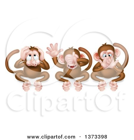 Clipart Illustration Of The Three Wise Monkeys, Mizaru, Kikazaru.