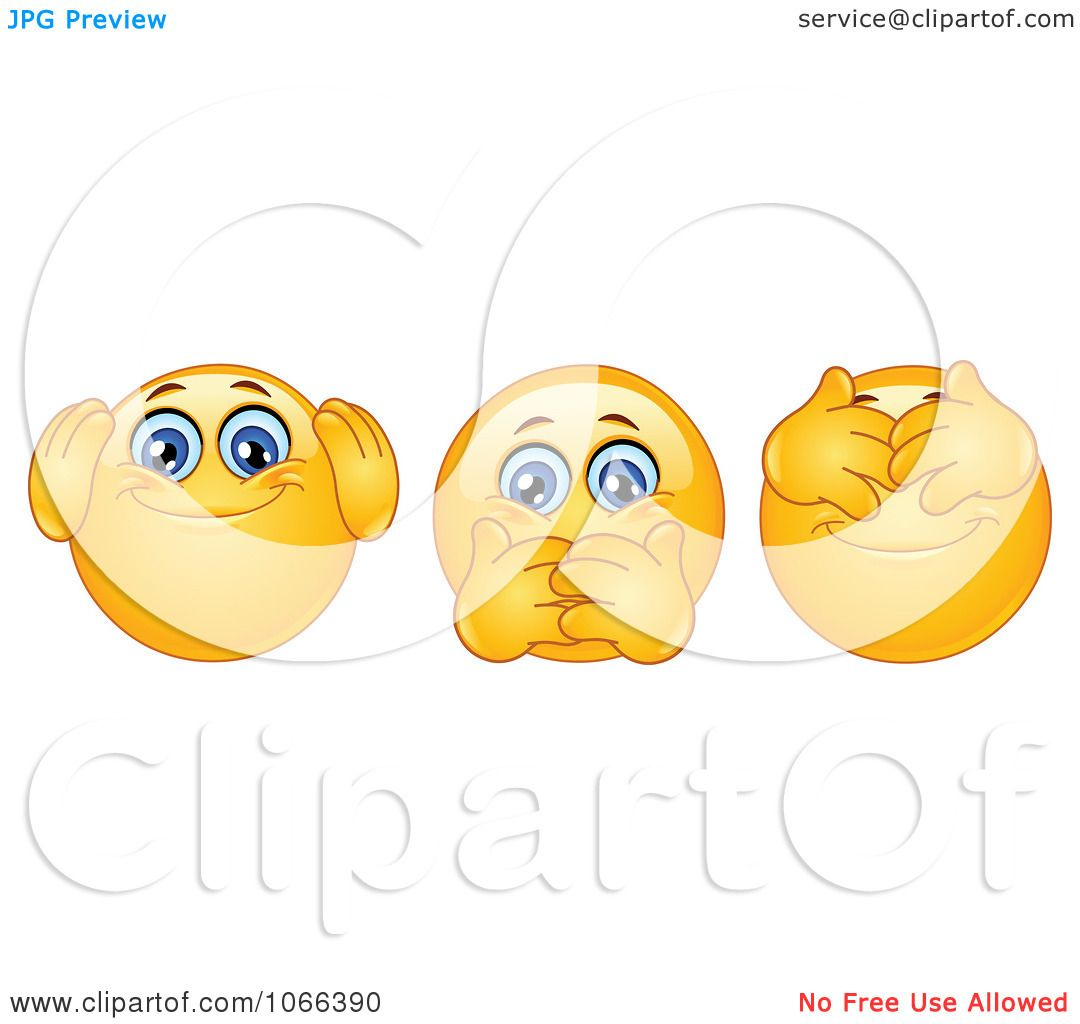 Clipart Hear No Speak No And See No Evil Emoticons.
