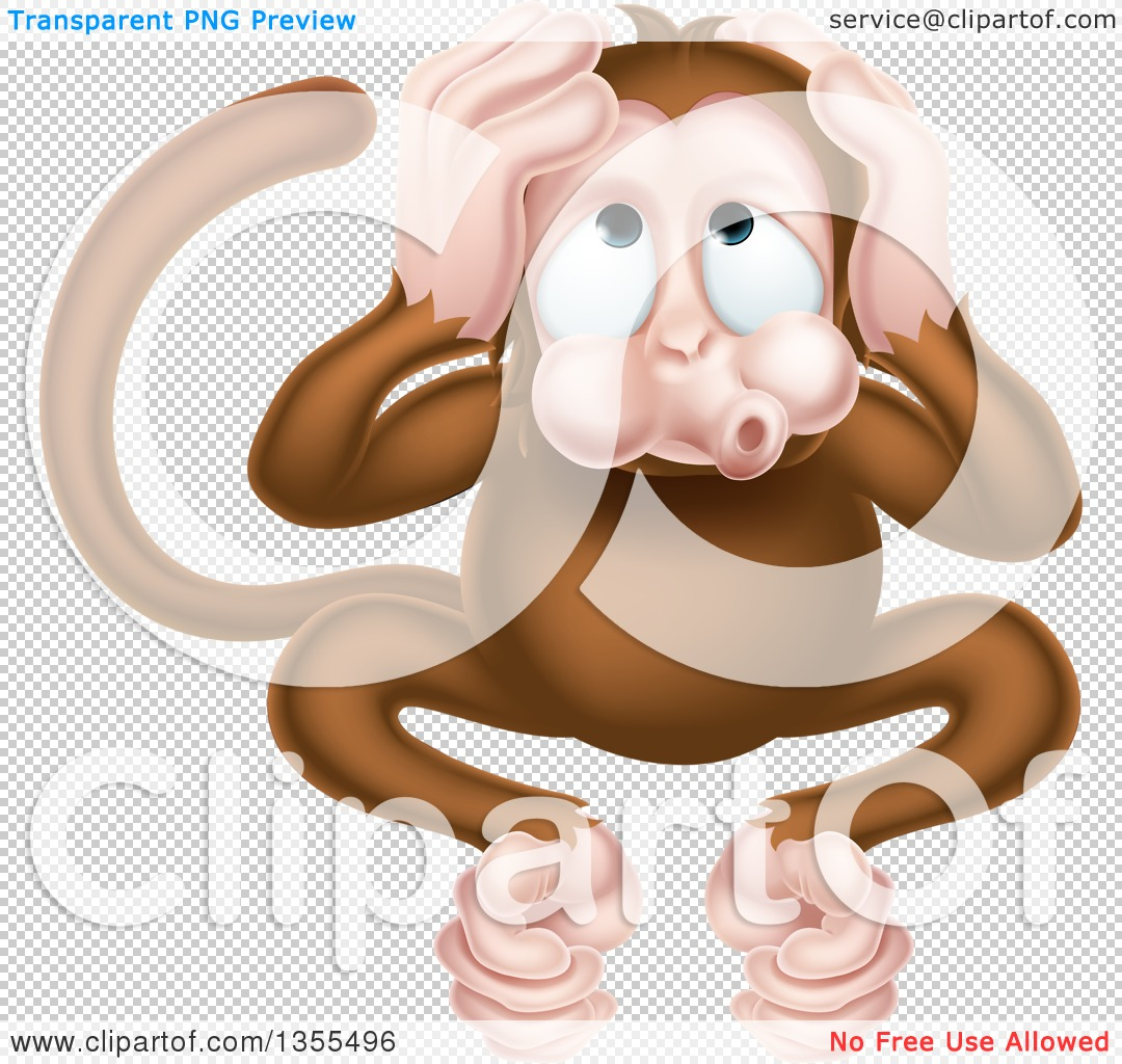 Clipart of a Cartoon Hear No Evil Wise Monkey Covering His Ears.