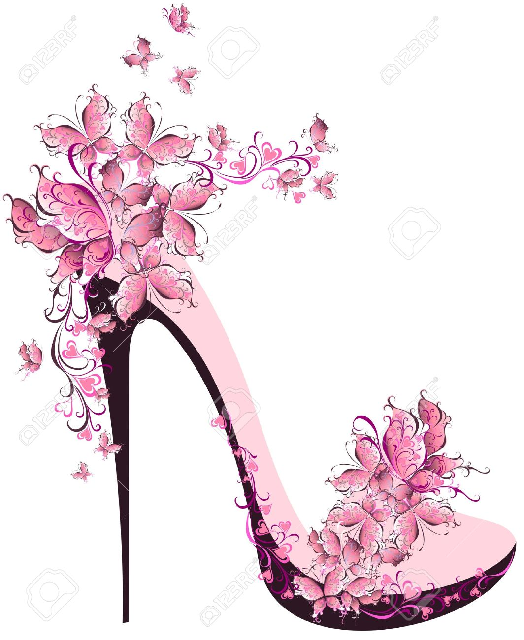 Shoes on a high heel decorated with butterflies.