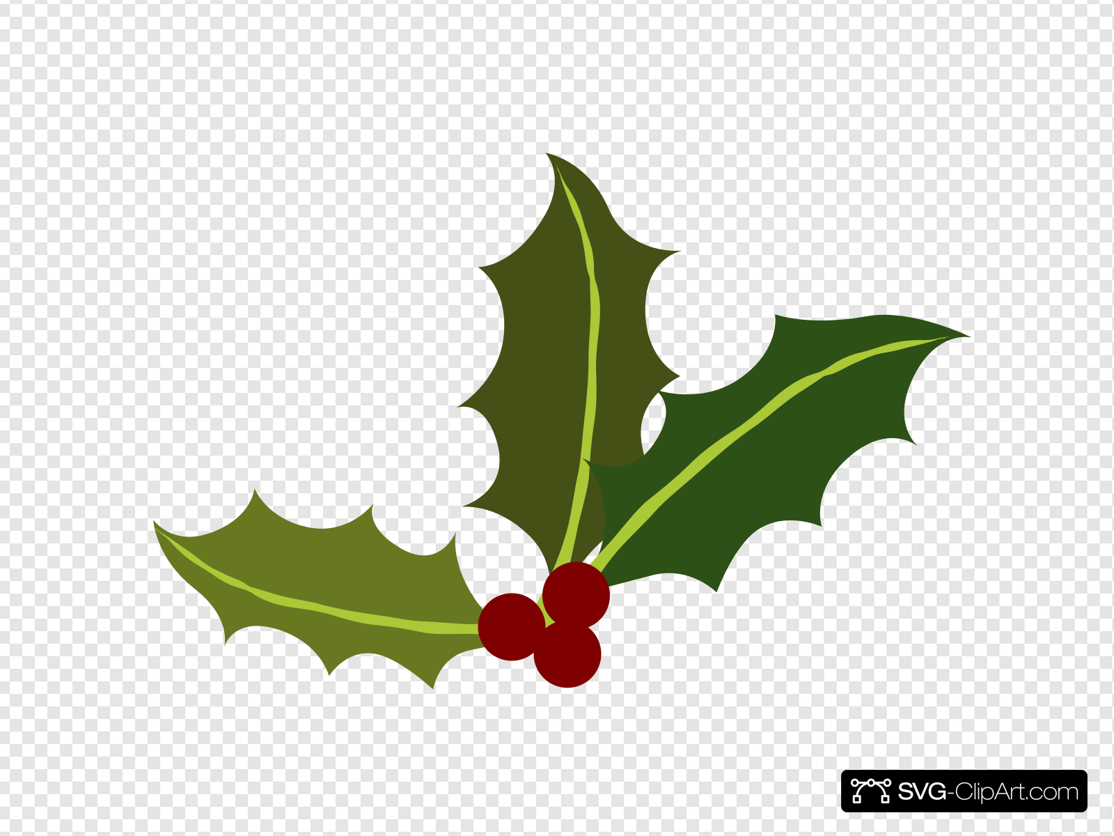 Holly Leaves With Berries Clip art, Icon and SVG.