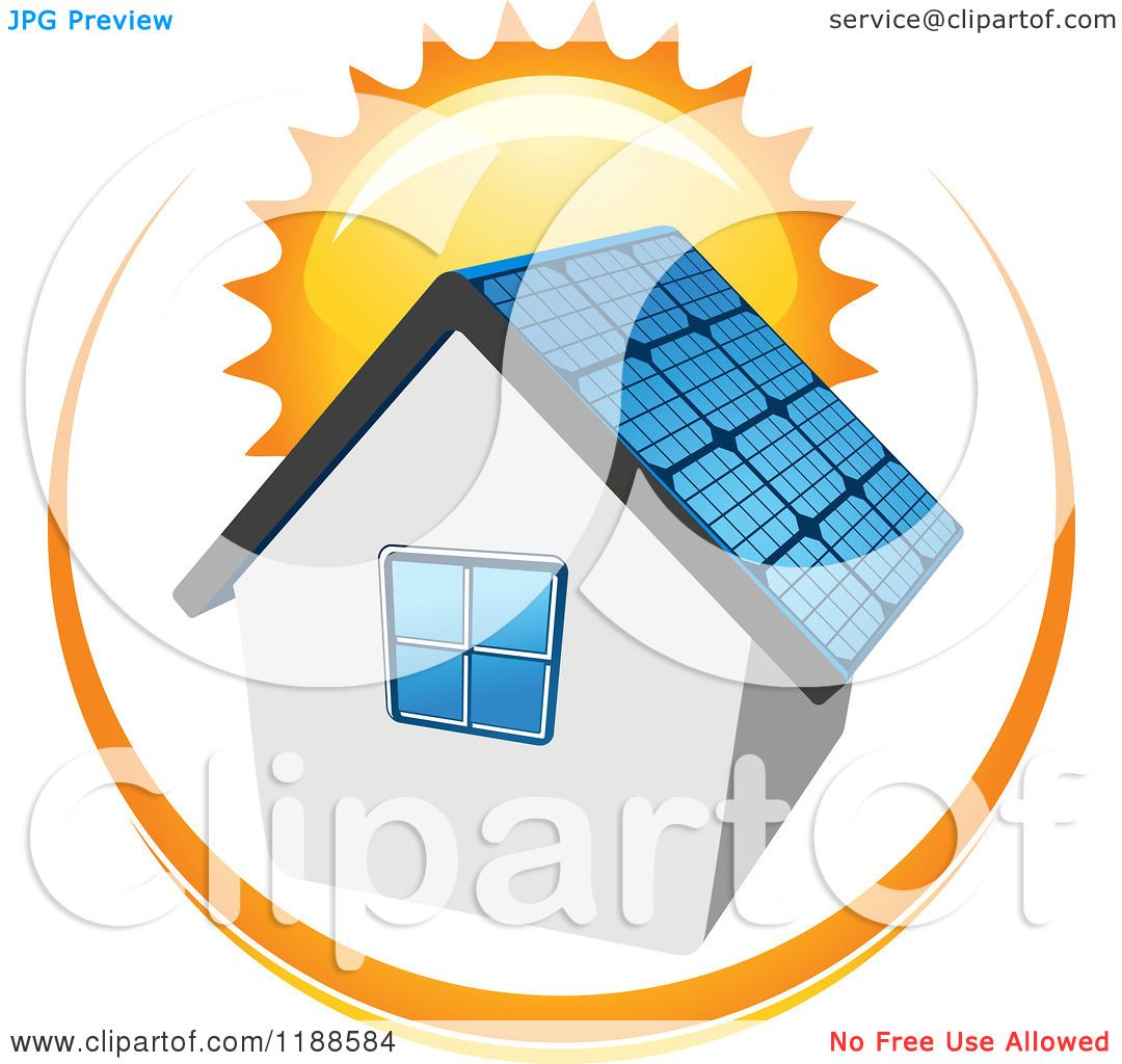 Clipart of a House with a Solar Panel Roof and Sun.