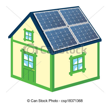 Clip Art Vector of House with solar panels.