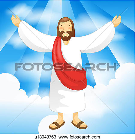 Drawing of christ, sky, jesus, light, clouds, resurrection.