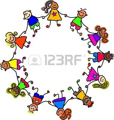 kids holding hands free clipart #8
