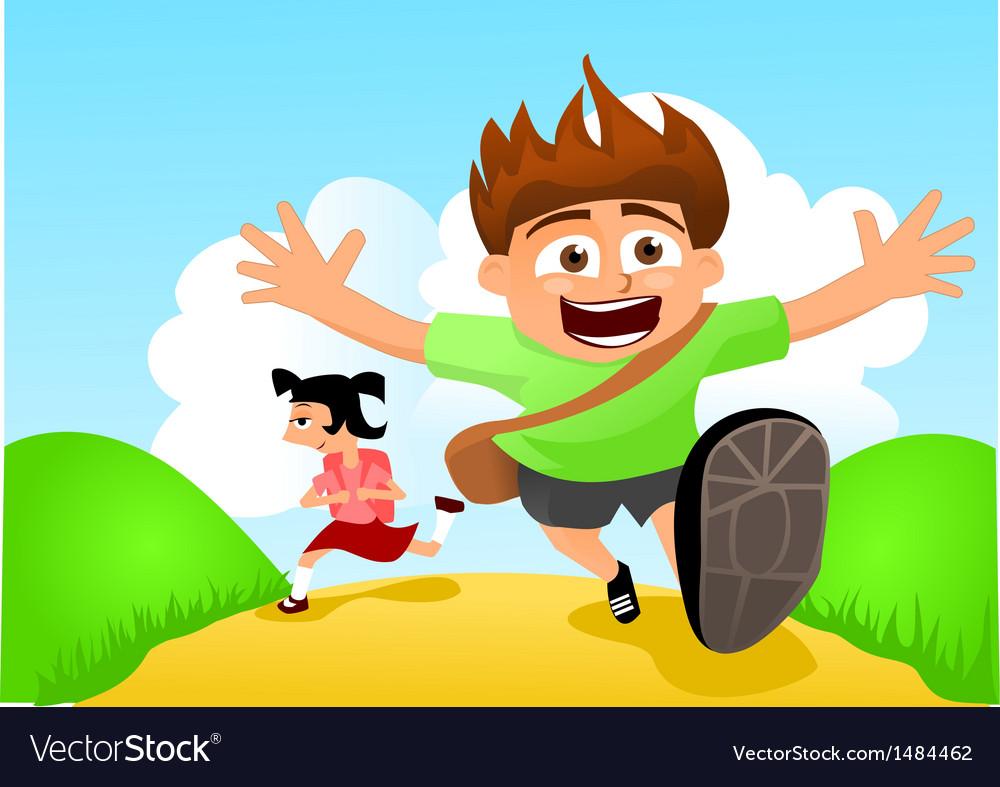 Two happy kids running to school.