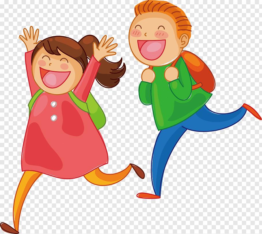 Girl and boy running illustration, Cartoon Child, Children.