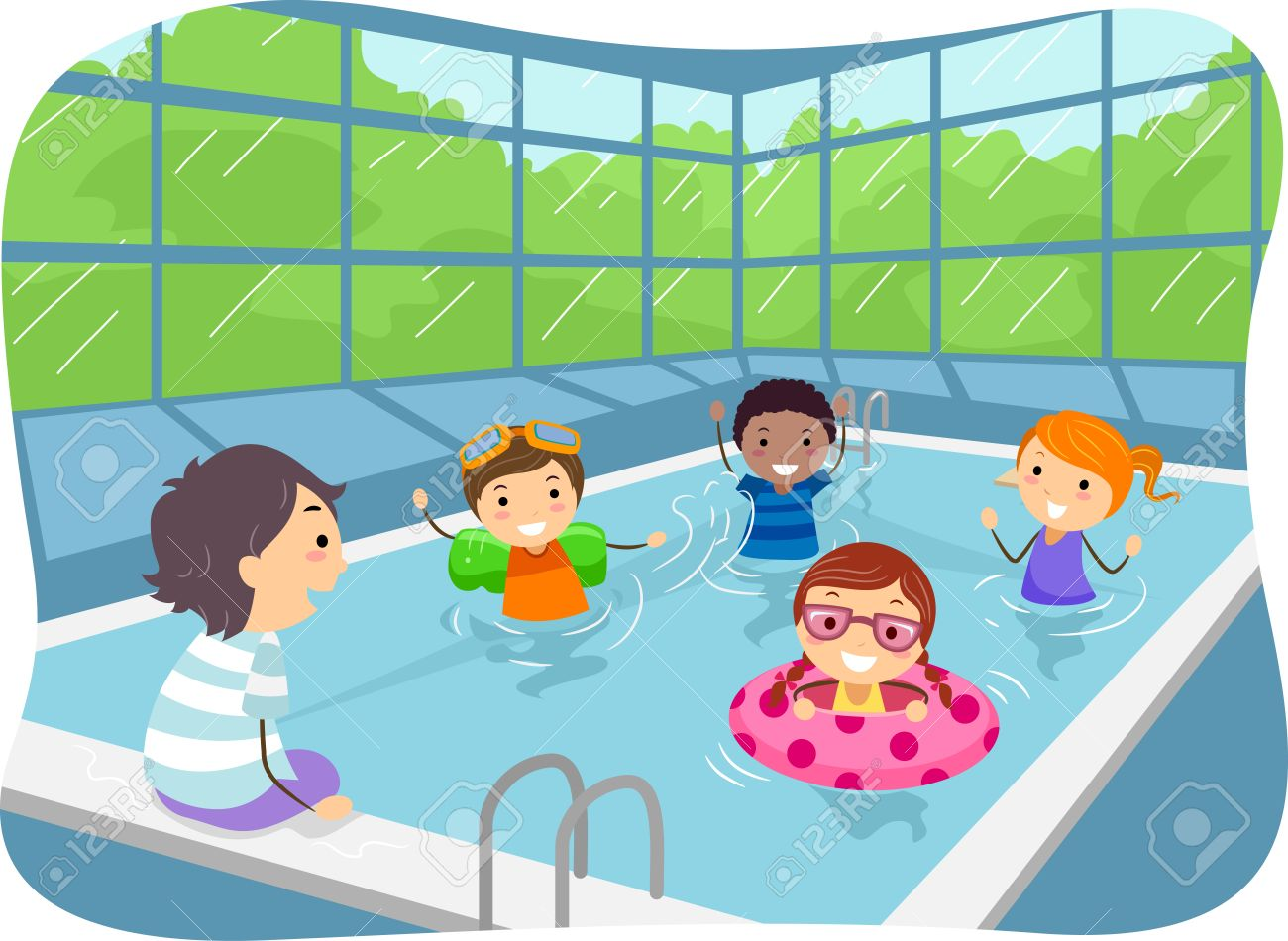 Illustration of Kids Swimming in an Indoor Swimming Pool.