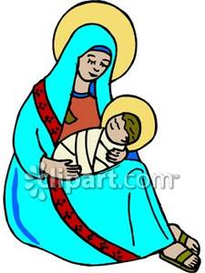 Mary and Baby Jesus With Halos.
