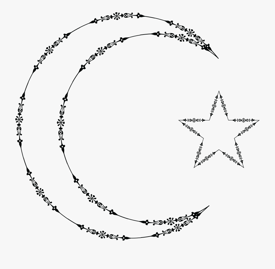 Free Clipart Of A Fancy Outlined Crescent Moon And.