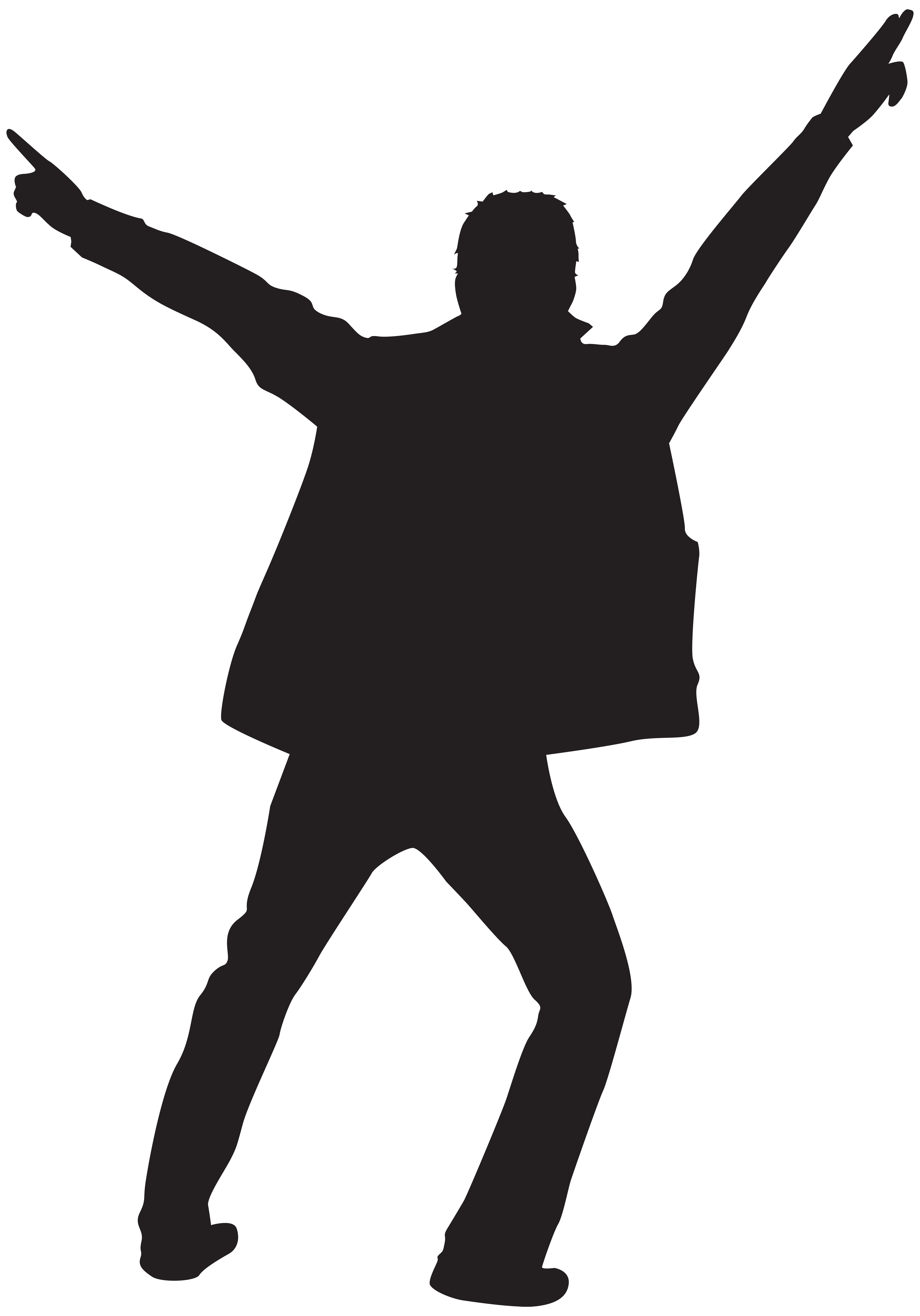 Dancing Man Silhouette Clip Art PNG Image.