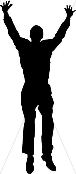 Silhouette Man Praising God.