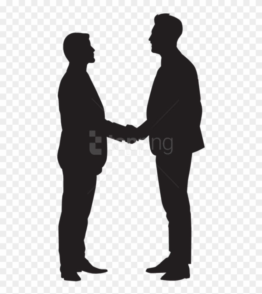 Free Png Men Shaking Hands Silhouette Png.